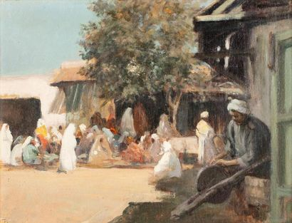 Edouard BRINDEAU de JARNY (1867-1943)  Marché aux grains à Rabat  Huile sur panneau...
