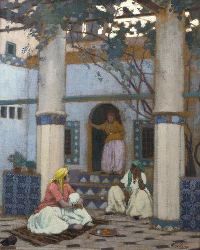 Pierre FRAILONG (1886 - 1961-62)  Conversation au jardin  Huile sur toile d'origine...