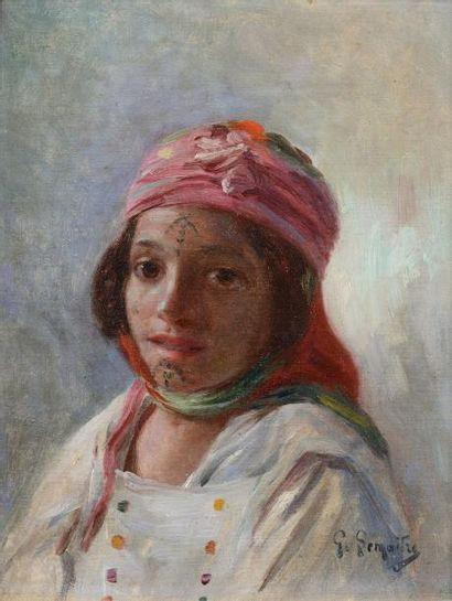 Gustave LEMAITRE (Marseille 1860 - 1920)  Jeune fille du sud algérien  Huile sur...