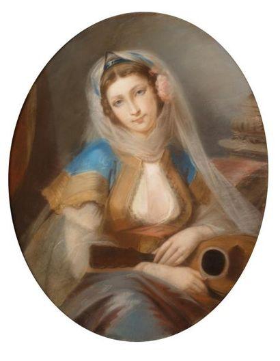 Ecole FRANCAISE du XIXème siècle  Femme orientale...