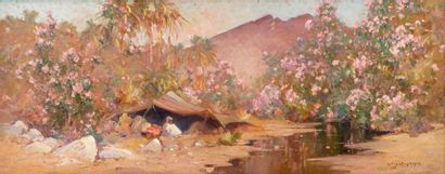 Eugène DESHAYES (Alger 1862 - 1939)    Campement...