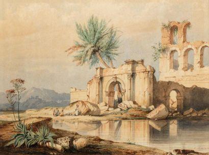 C RIVIERE (Actif au XIXème siècle )  Porte et ruines au bord du Nil  Aquarelle  33,5...