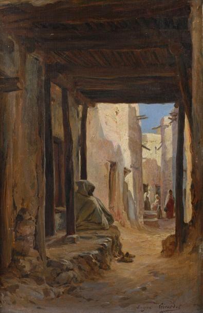 Eugène Alexis GIRARDET (Paris 1853-1907)  Ruelle à Bou Saada  Huile sur panneau...