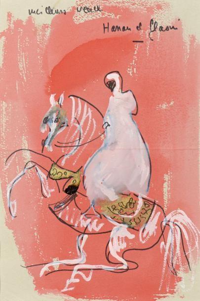 Hassan EL GLAOUI (né en 1924)  Cavalier  Aquarelle...