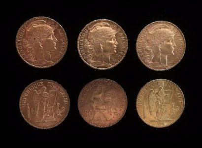 Six pièces en or de 20 FF :  1877A, 1897 A, 1901, 1908, 1909, 1912