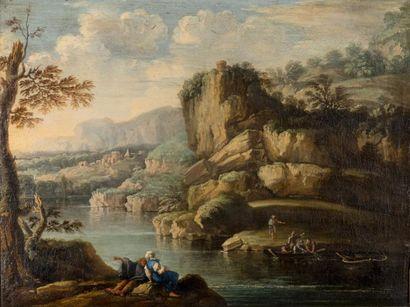 Attribué à Salvator ROSA  (1615 – 1673)  Pêcheurs...