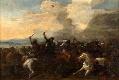 Antonio CALZA (1653 - 1725)  Choc de cavalerie...