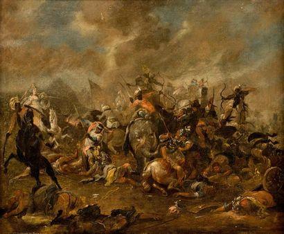 Ecole ALLEMANDE du XVIIème siècle  La bataille...