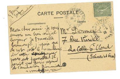 BRAQUE (Georges). Carte postale signée