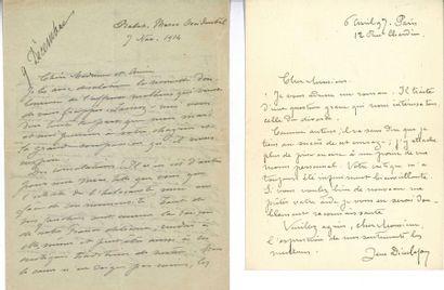 DIEULAFOY (Jane). Ensemble de 2 lettres autographes...