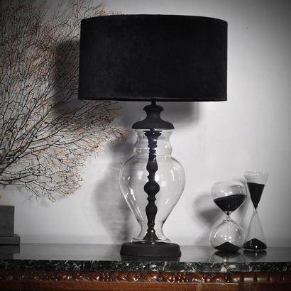 Lampe de table pied en verre