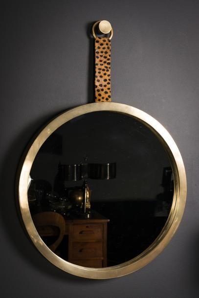 Miroir rond en finition laiton à l'antique et à décor léopard
