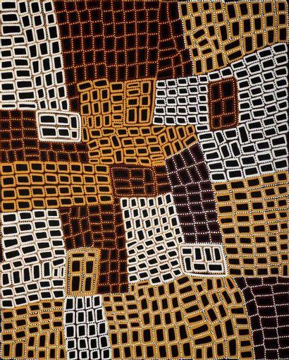 Walala Tjapaltjarri (c. 1960 - )  Sans titre  Acrylique sur toile - 151 x 121 cm...
