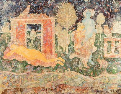 Sakti BURMAN (né en 1935)  L'attente, circa 1975  Huile sur toile signée en bas,...
