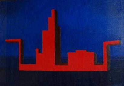 Andrée POLLIER (1916-2009)  Le voyage rouge, mai juin 1970  Huile sur toile  115...