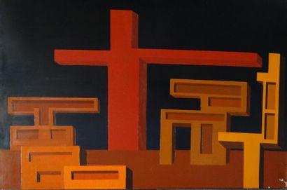Andrée POLLIER (1916-2009)  Le dieu de la ville  Huile sur toile  130 x 195 cm  Contresigné,...