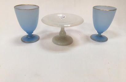 Lot comprenant :  - Deux verres à pieds opaliné bleu et filets or  - Coupelle opaline...