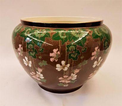 BOCH FRERES KERAMIS  Grand cache pot en céramique...