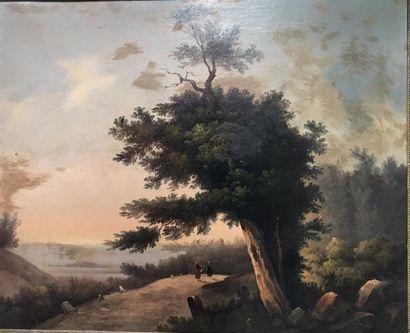 Ecole du XIXe siècle  Paysage aux deux personnages...