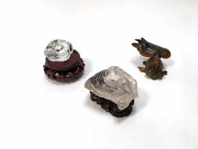 Encrier en cristal de roche (manque couvercle)...