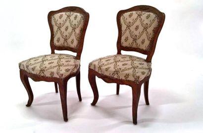 Paire de chaises en placage de bois de rose,...