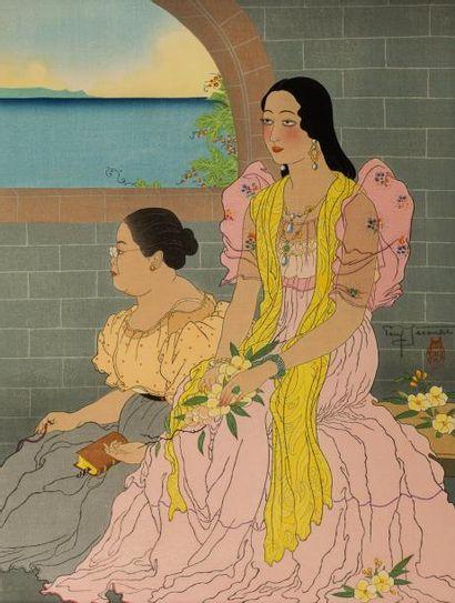 Paul JACOULET (1896-1960)  Estampe polychrome représentant une jeune fille en robe...