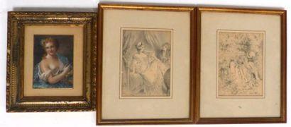 Lubin DE BEAUVAIS (XIX-XX) Paire de dessins...