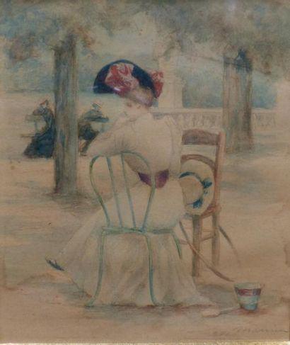 Charles MAURIN (1856-1914)  Ele?gante assise  Crayon et aquarelle sur papier  15,5...