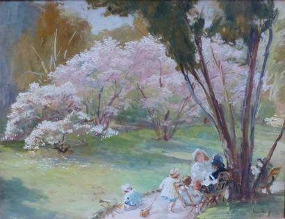 FRED-MONEY (1882-1956)  Enfants dans un parc...