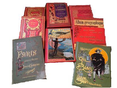 Lot de livres :   - Reliures XIXème siècle, dos cuir : Histoire des Papes...