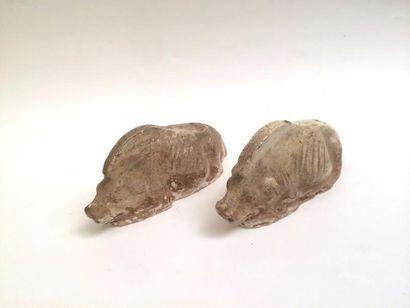 Deux sangliers en terre cuite Asie, Tang...