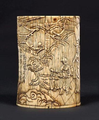 CHINE – Dynastie Ming, Epoque XVIe-XVIIe siècle    Pot à pinceaux tronçonique en...