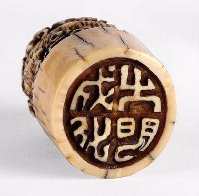 CHINE – Fin de la Dynastie Qing, Epoque XIXe siècle    Cachet de section circulaire...