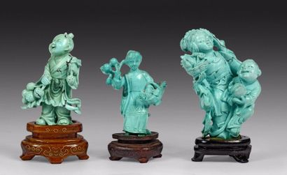 CHINE – Epoque XXe siècle    Trois figurines...