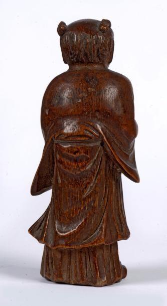 CHINE – Dynastie Qing, Epoque XVIII - XIXème siècle    Charmant sujet en bambou...