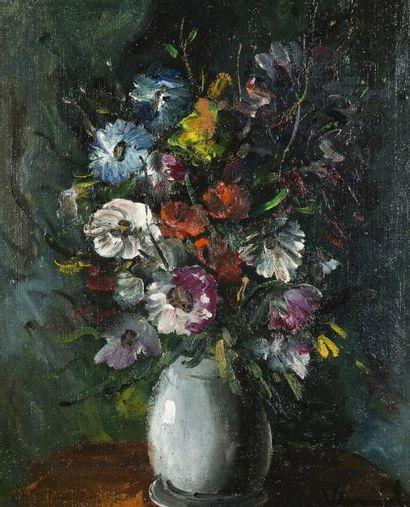 *Maurice de VLAMINCK (Paris 1876 - Rueil La Gadelière 1958) Bouquet de fleurs Huile...