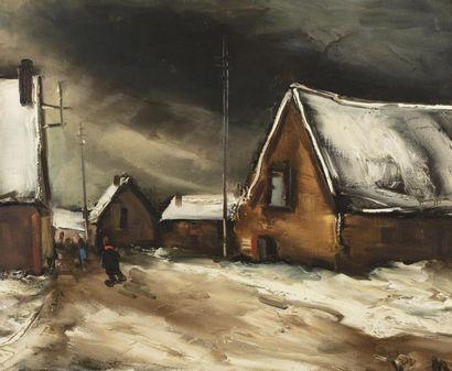 *Maurice de VLAMINCK (Paris 1876 - Rueil La Gadelière 1958)  Rue de village, neige,...