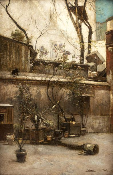 Rudolf RIBARZ (Vienne 1848 - 1904)  La cour...