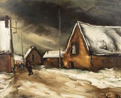 *Maurice de VLAMINCK (Paris 1876 - Rueil La Gadelière 1958)  Rue de village, neige...
