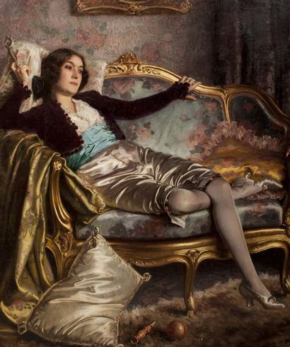 Georges GUEQUIER (1878 - 1957)  Portrait de Désirée Manfred en costume de chérubin...