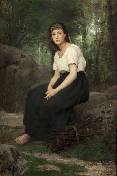 Alfred Henri BRAMBOT (Paris 1852 - La Garenne sur Eure 1894)  Femme rêveuse à la...