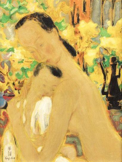 LE PHO (1907 - 2001)  Le bain  Huile sur...
