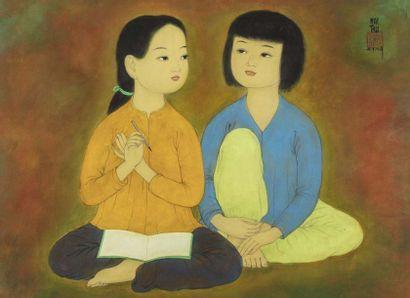 MAI -THU (Ro-Nha /Haiphong 1906 - Paris 1980)  L'inspiration, ou deux fillettes...