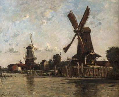 Karl DAUBIGNY (Paris 1846 - Auvers sur Oise 1886)  Moulins en Hollande  Huile sur...