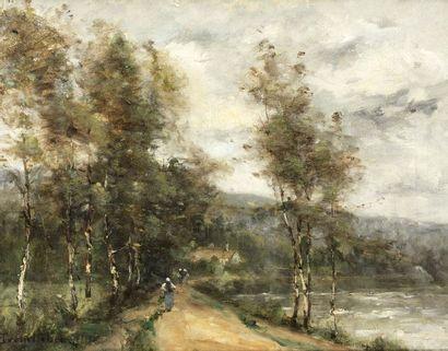 Paul Désiré TROUILLEBERT (Paris 1829 - 1900)  Chemin près de la rivière  Huile sur...