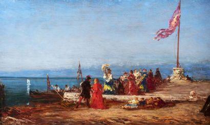Félix ZIEM (Beaune 1821 - Paris 1911)  Promenade des élégantes sur le quai à Venise...