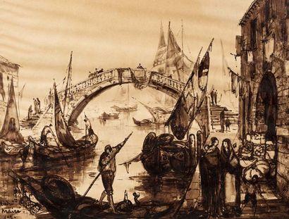 André MAIRE (Paris 1898 - 1985)  Vue de Venise  Encre sur papier  56 x 73 cm  Signé...