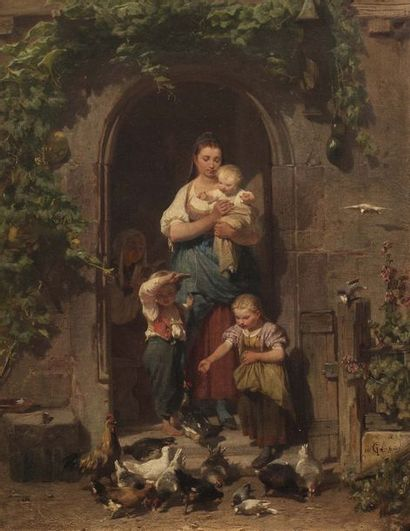 Johann Philipp GERKE (Kassel 1811 - ?)  Famille à la ferme  Huile sur toile d'origine...