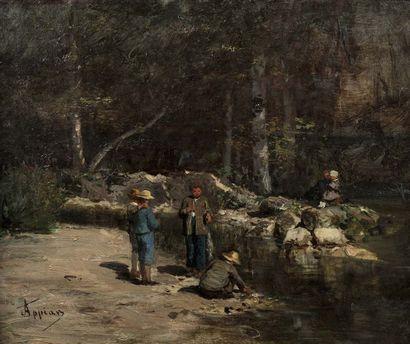 Adolphe APPIAN (Lyon 1818 - 1898)  Jeux d'enfants...