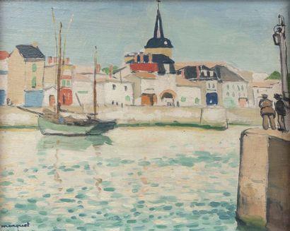 Albert MARQUET (Bordeaux 1875 - Paris 1947)  La Chaume, le clocher, Sables d'Olonne,...